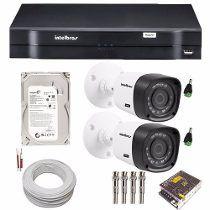 Sistema De Vigilância Hd 2 Câmeras 1010b Dvr 1004 Intelbras