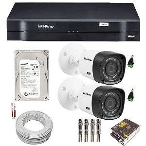 KIT02 CÂMERAS SEGURANÇA INTELBRAS HDCVI 720P DVR 4 CANAIS HD 500GB ACESSÓRIOS