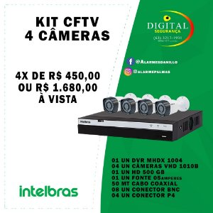 KIT CFTV 04 CÂMERAS INTELBRAS