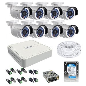 Kit CFTV 08 Câmeras com HD de 1 TB - Hikvision