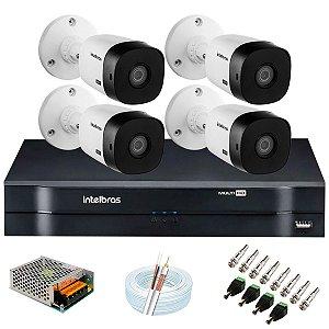 Kit c/ 4 Câmeras HD VHL 1120 B + DVR 1104 Intelbras + Acessórios - Intelbras