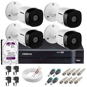 Kit c/ 4 Câmeras HD 720p 20m Infravermelho VHL 1120 B + DVR 1104 + HD 1TB para Armazenamento - Intelbras