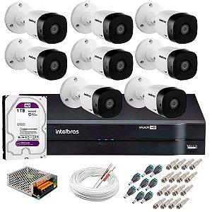 Kit c/ 8 Câmeras VHD 1120 B 20m + DVR Intelbras + HD 1TB para Armazenamento + Acessórios - Intelbras