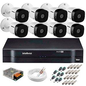 Kit  c/ 8 Câmeras HD 720p 10m VHD 1010 B G5 + DVR Intelbras + Acessórios - Intelbras