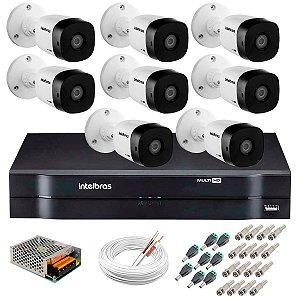 Kit c/ 8 Câmeras VHD 1120 B 20m + DVR Intelbras + Acessórios - Intelbras