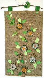 Panô Feltro Flores Verdes