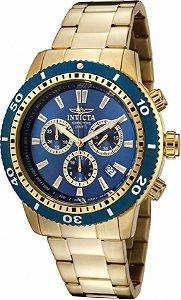 Relógio Invicta Specialty 1205 Banho Ouro Fundo Azul Mov. Suíço