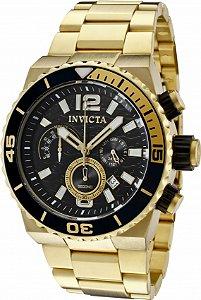 Relógio Invicta Pro Diver 1343 Banho Ouro Mostrador Preto