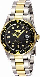 Relógio Invicta Pro Diver 8934 Banho Prata e Ouro Fundo Preto Pequeno
