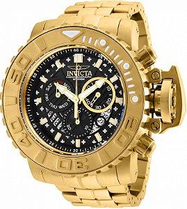 Relógio Invicta Sea Hunter 26107 Banho Ouro Mov. Suíço 58mm
