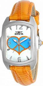 Relógio Invicta Lupah 25026 Banho Prata Pulseira Laranja