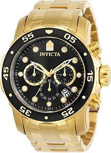 Relógio INVICTA Original Pro Diver 0072 Banhado a Ouro 18kt Cronógrafo Mostrador Preto