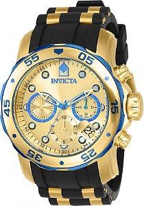 Relógio INVICTA Original Pro Diver 17887 Banhado a Ouro 18kt Pulseira em Borracha Cronógrafo Mostrador Dourado