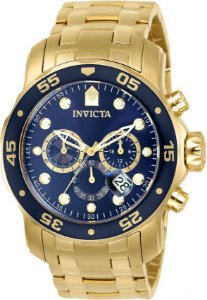 Relógio INVICTA Original Pro Diver 0073 Banhado a Ouro 18k Cronógrafo Mostrador Azul