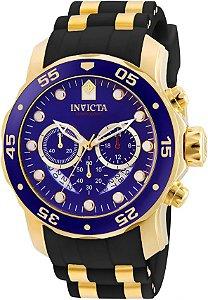 Relógio INVICTA Original Pro Diver 6983 Banhado a Ouro 18kt Pulseira em Borracha Cronógrafo Mostrador Azul
