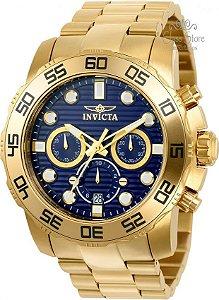 Relógio INVICTA Pro Diver 22228 Original Banhado a Ouro 18k Mostrador Azul Cronógrafo