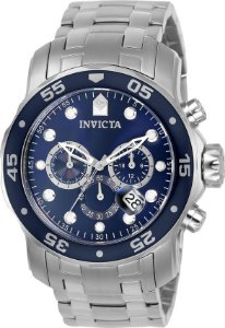 Relógio INVICTA Pro Diver 0070 Original Prata Mostrador Azul Cronógrafo Data