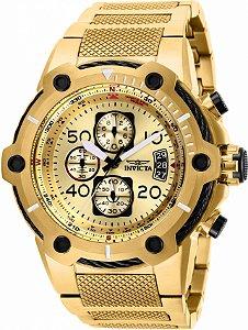 Relógio Invicta Bolt 28026 Banho Ouro 51mm Mostrador Dourado