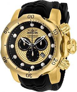 Relógio INVICTA Venom 20443 Suíço Pulseira em Borracha Banhado a Ouro 18k Cronógrafo Original