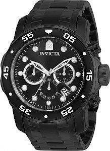 Relógio INVICTA 0076 Pro Diver Aço Inox Preto Cronógrafo Mostrador Preto