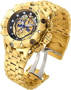 Relógio Invicta Reserve Venom 16804 Hybrid banhado a Ouro 18k Suíço Cronógrafo Calendário Triplo