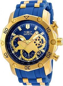Relógio Invicta Pro Diver 22798 50mm Banhado a Ouro 18k Mostrador e pulseira Azul Cronógrafo