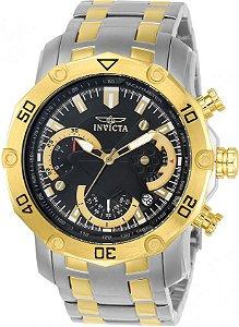 Relógio INVICTA 22768 Pro Diver 50mm Misto Prata Banhado a Ouro 18k Mostrador Preto