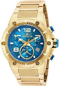 Relógio INVICTA 19532 Speedway 52mm Banhado a Ouro 18k Azul Cronógrafo Suíço