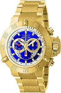 Relógio INVICTA 5404 Subaqua Suíço 50mm Banhado a Ouro 18k Cronógrafo