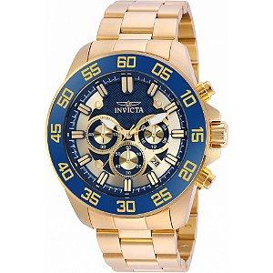 546f9593f83 Relógio Invicta 24727 Pro Diver Slim Masculino Banhado a Ouro 18k Azul  Cronógrafo