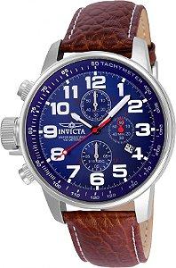 Relógio Invicta 3328 I-Force Mostrador Banhado Prata Pulseira em Couro Cronógrafo Braço Direito