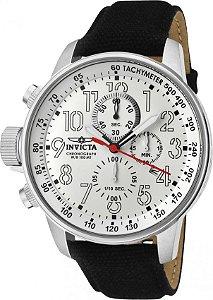 Relógio Invicta 1514 I-Force Mostrador Branco Banho Prata Pulseira em Lona Cronógrafo Braço Direito