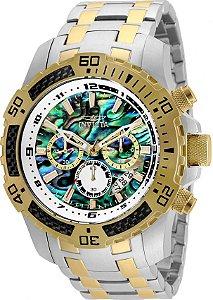 8b773509702 Relógio Invicta 25093 Pro Diver Masculino Banho Misto Prata Ouro 18k  Mostrador Multicor Cronógrafo
