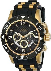 Relógio Invicta 23702 Pro Diver Masculino Banhado a Ouro 18k Mostrador Preto Cronógrafo