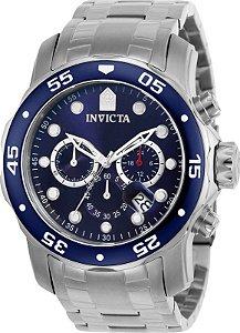 Relógio INVICTA 21921 Pro Diver Prata Masculino Mostrador Azul Cronógrafo