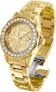 Relógio Invicta 22870 Disney Minnie Edição Limitada Banhado a Ouro 18k