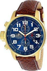 Relógio Invicta 3329 I-Force Mostrador Azul Banhado a Ouro 18k Pulseira em Couro Marrom Cronógrafo Destro