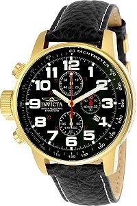 3ee99d2235c Relógio Invicta I-Force 3330 Masculino 46mm Banhado a Ouro 18k Pulseira em Couro  Cronógrafo
