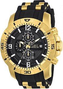 Relógio Invicta 24965 Pro Diver Masculino 50mm Banhado a Ouro Mostrador Preto em Fibra de Carbono Cronógrafo