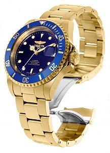 Relógio Invicta 8930OB Pro Diver Unissex 40mm Banhado a Ouro 18K Mostrador Azul Automático
