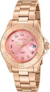 Relógio invicta Angel 14369 Feminino 40mm Banhado a Ouro Rosê 18k Mostrador Rosa Movimento Suíço