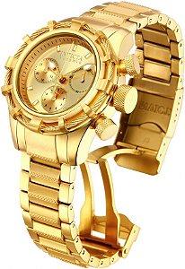 Relógio invicta Bolt 12461 Feminino 40mm Banhado a Ouro 18k Mostrador Dourado Cronógrafo