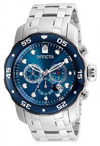 07d0ea69734 Relógio Invicta 21784 Pro Diver 48mm Banho Prata Mostrador Azul Cronógrafo