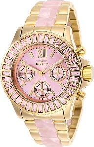 Relógio invicta Angel 17493 Feminino 38mm Banhado a Ouro 18k Mostrador Rosa