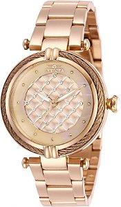 Relógio invicta Bolt 28933 Feminino 36mm Banhado a Ouro Rosê 100 Metros Resistente a Água
