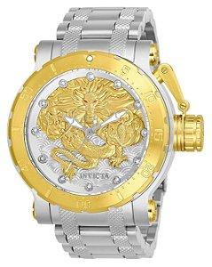 Relógio Invicta 26508 Coalition Forces Automático 52mm Banho Misto Prata e Ouro 18k Mostrador Texturizado