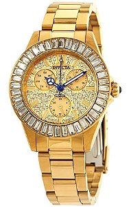 Relógio invicta Angel 28448 Feminino 38mm Banhado a Ouro 18k Mostrador Dourado com Cristais