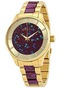 Relógio invicta Angel 24664 Feminino 40mm Banhado a Ouro 18k Mostrador Dourado com Fuchsia
