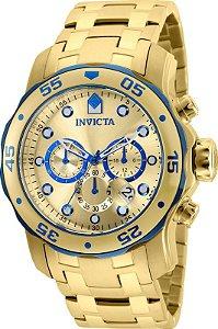Relógio Invicta 80069 Pro Diver Masculino Banhado a Ouro 18k  Mostrador Dourado e Azul Cronógrafo