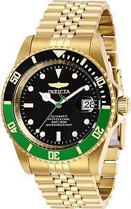 Relogio Invicta 29184 Pro Diver 42mm Banhado a Ouro 18k Mostrador Preto Automático